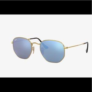 RAY-BAN blue and gold with hexagonal frame💙